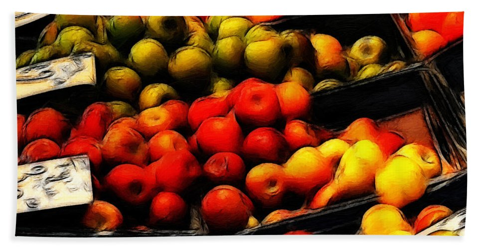 Fruit Fruits Vegetable Market Shop Grocer Gree Apple Orange Painting Oil Art Expressionism Color Colorful Hand Towel featuring the painting Fruits On The Market by Steve K