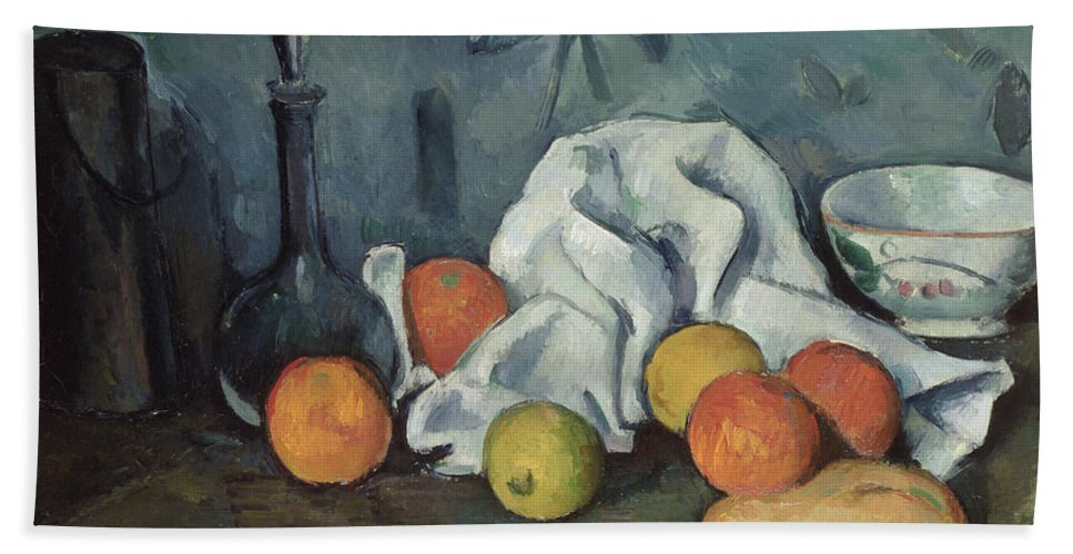 Post-impressionist Hand Towel featuring the painting Fruits by Paul Cezanne