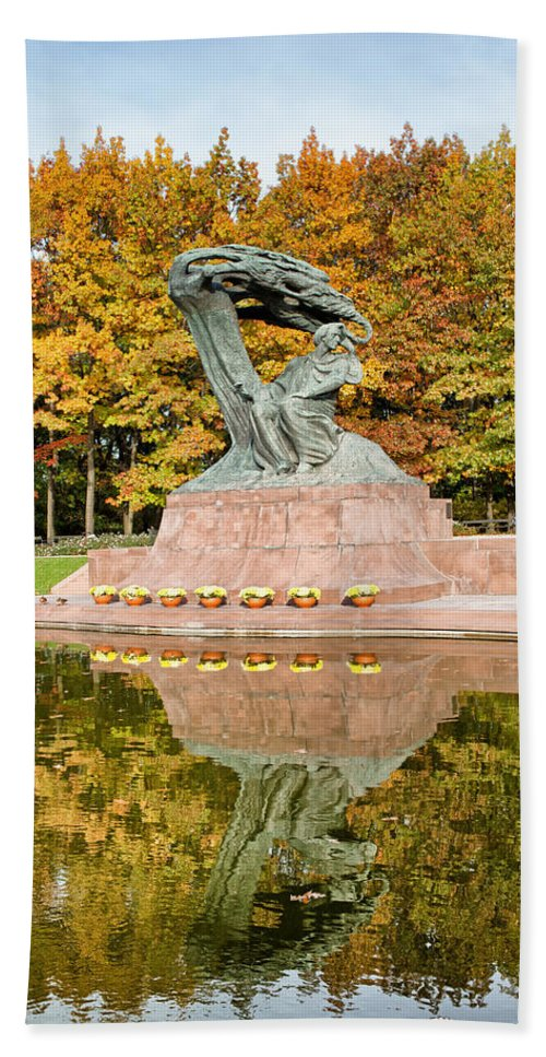 Park Hand Towel featuring the photograph Fryderyk Chopin Statue In Warsaw by Artur Bogacki