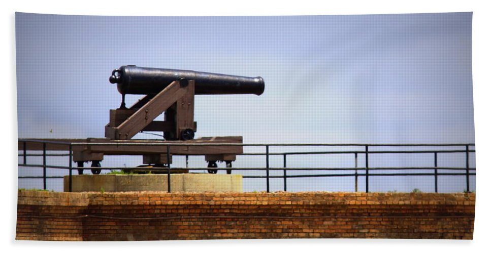 Ft Gaines - Dauphin Island Alabama Bath Sheet featuring the photograph Ft Gaines - Cannon by Travis Truelove