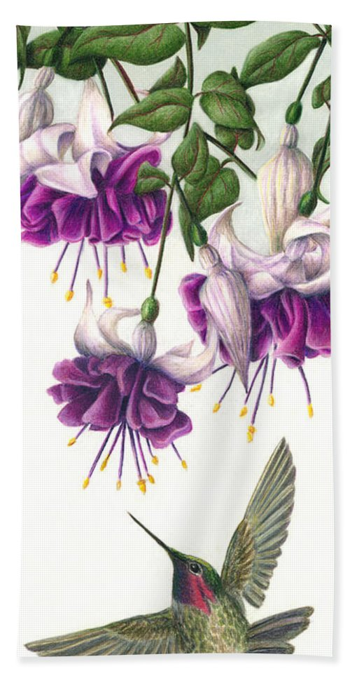 Humming Bird Hand Towel featuring the painting Fuchsia Beauty by Pat Erickson