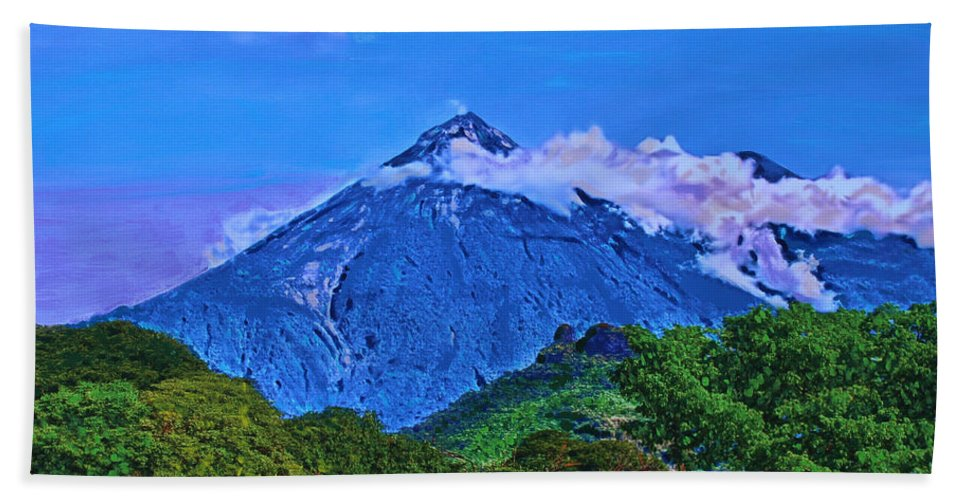 Volcano Bath Sheet featuring the painting Fuego Volcano Guatamala by Deborah Boyd