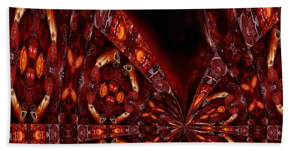 Abstract Digital Painting Hand Towel featuring the digital art Fugue by Wolfgang Schweizer
