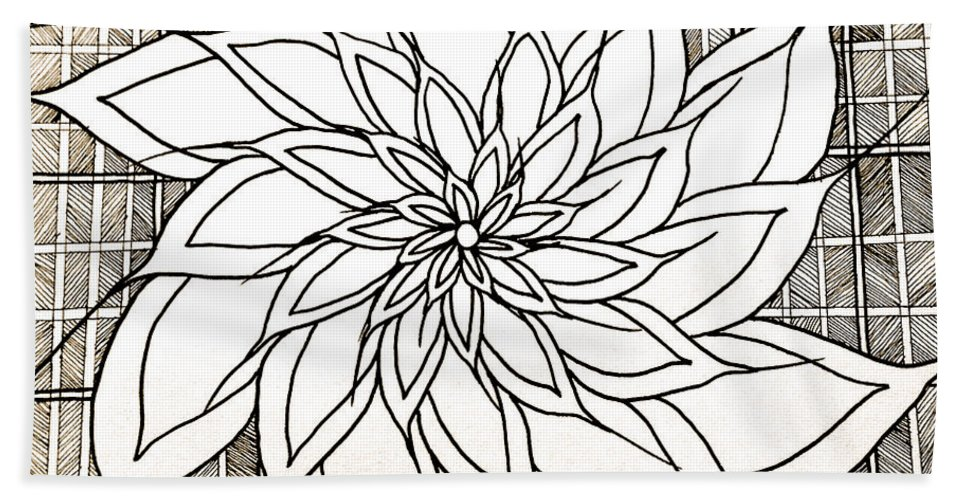 Abstract Bath Sheet featuring the drawing Full Bloom Iv by Anita Lewis