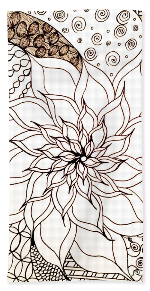 Full Bloom V Bath Sheet featuring the drawing Full Bloom V by Anita Lewis