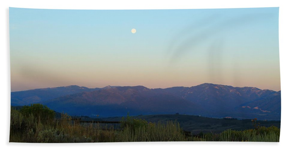 Jackson Hole Hand Towel featuring the photograph Full Moon And Sage Grass by Catie Canetti