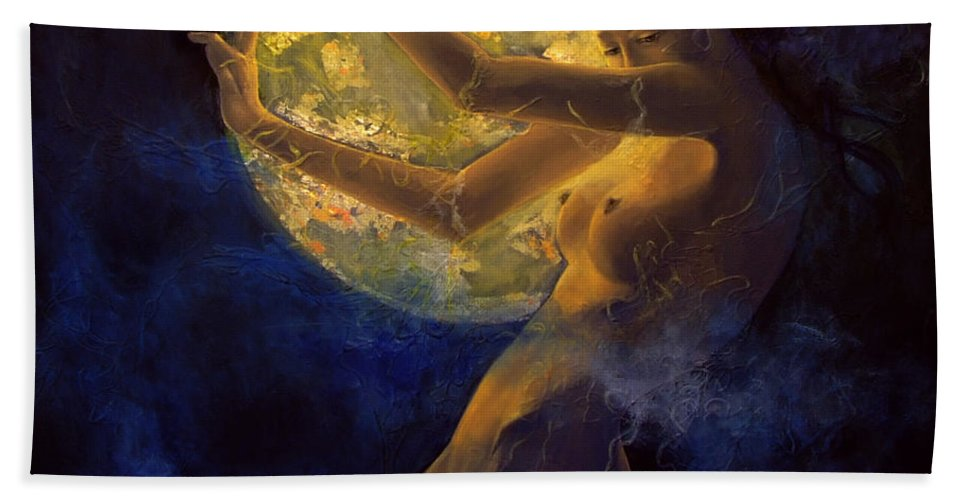 Woman Bath Sheet featuring the painting Full Moon by Dorina Costras