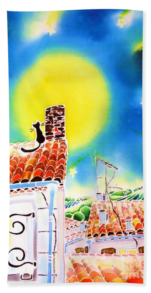 France Bath Sheet featuring the painting Full Moon by Hisayo Ohta