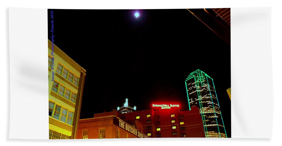 Dallas Skyline Bath Sheet featuring the digital art Full Moon Over Dallas Streets by Pamela Smale Williams