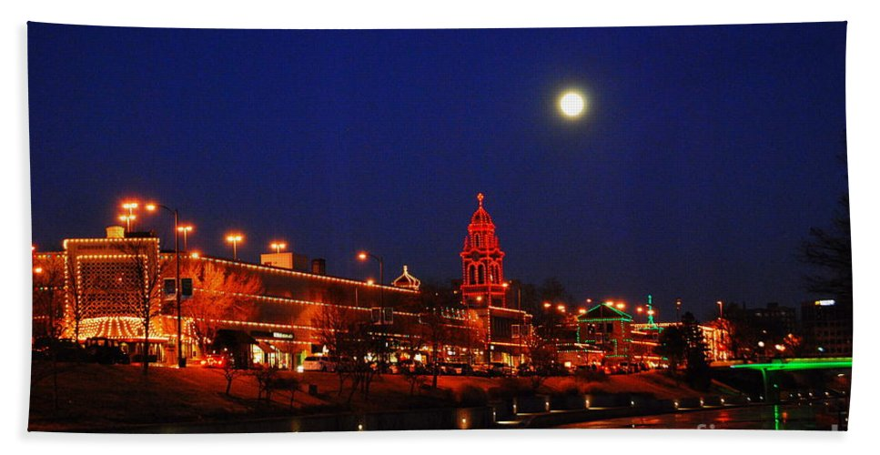 Kansas City Hand Towel featuring the photograph Full Moon Over Plaza Lights In Kansas City by Catherine Sherman