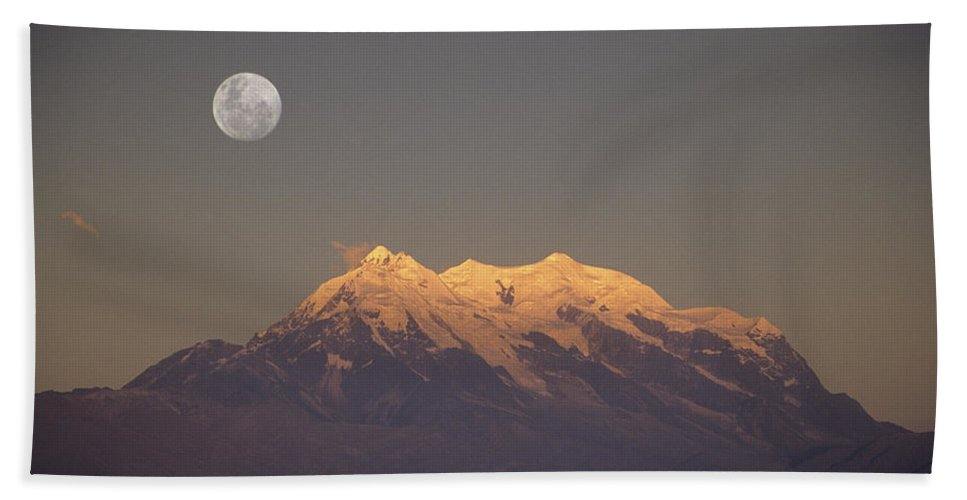 Bolivia Bath Sheet featuring the photograph Full Moon Rise Over Mt Illimani by James Brunker