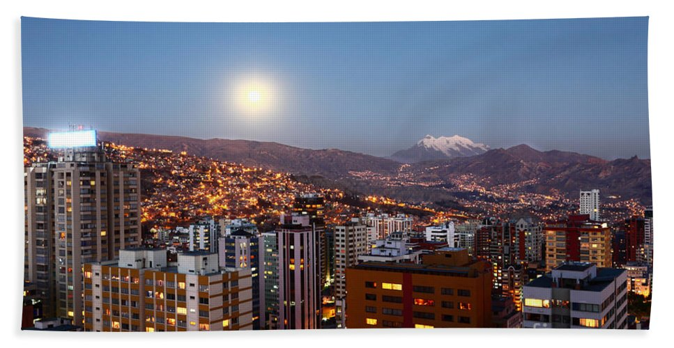 La Paz Hand Towel featuring the photograph Full Moon Rising Over La Paz by James Brunker