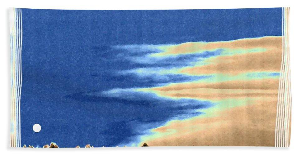 Full Moon Rising Hand Towel featuring the digital art Full Moon Rising by Will Borden
