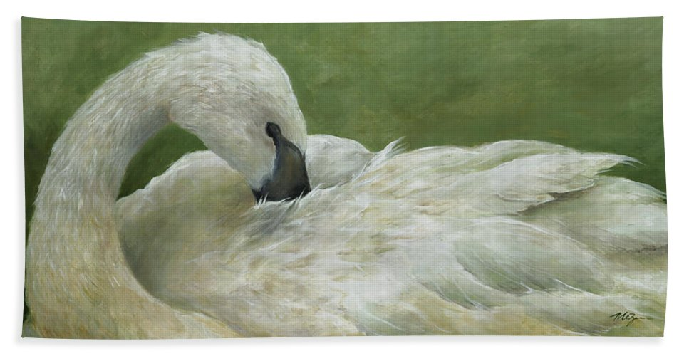 Grace Swan Birds Animals Wildlife Nature Graceful  Hand Towel featuring the painting Full Of Grace by Mary Zins