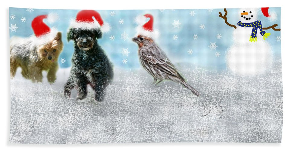 Christmas Hand Towel featuring the photograph Fun Merry Christmas Card by Debbie Portwood