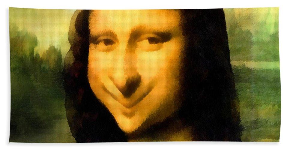 Leonardo Da Vinci Hand Towel featuring the digital art Fun With Mona Lisa by Leonardo da Vinci