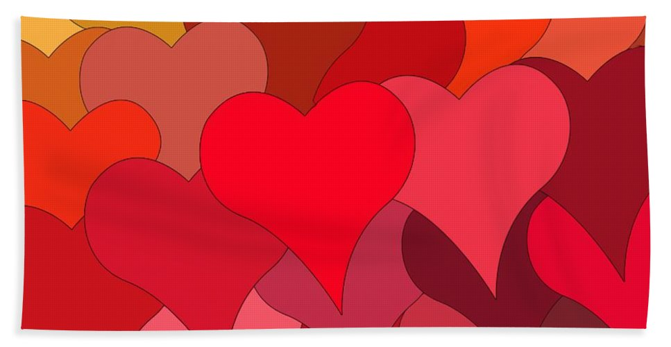 Heart Bath Sheet featuring the painting Funky Hearts by Frances Lewis