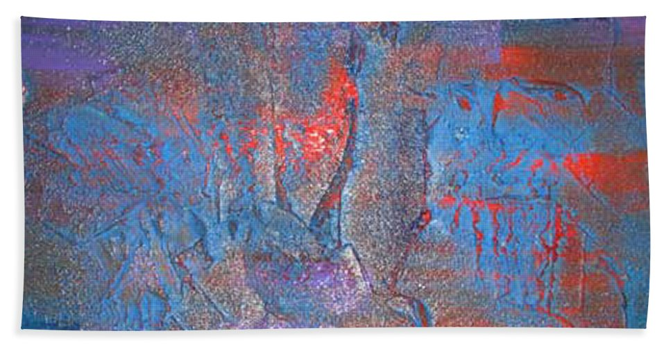 Abstract Hand Towel featuring the painting Funny Rain by Silvana Abel