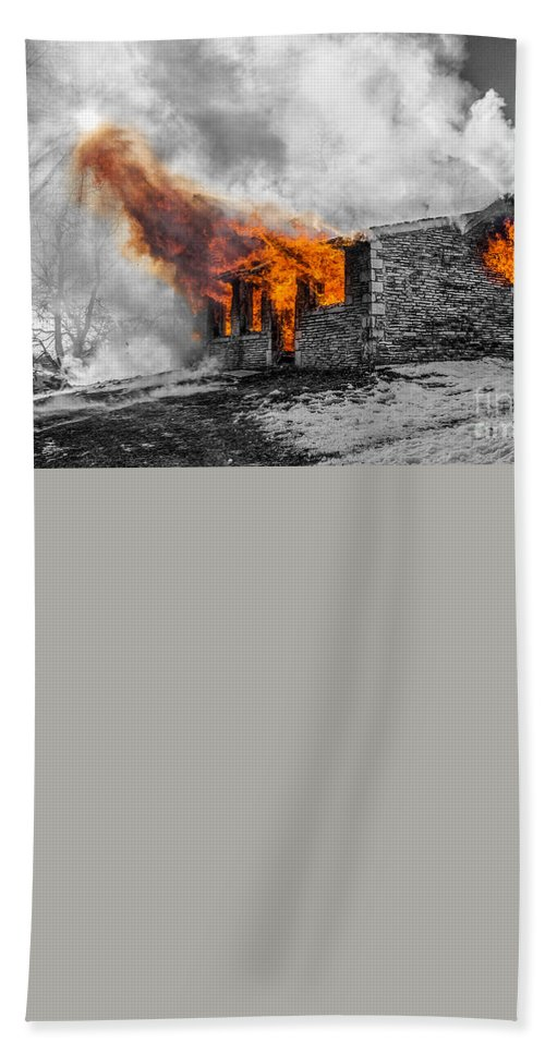 Fire Hand Towel featuring the photograph Furious Fire by Andrew Slater