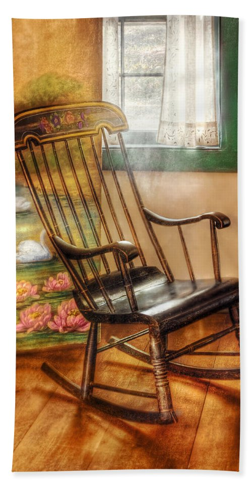 Savad Bath Sheet featuring the photograph Furniture - Chair - The Rocking Chair by Mike Savad