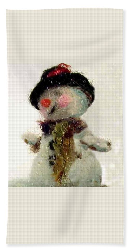 Snowman Bath Sheet featuring the photograph Fuzzy The Snowman by Mary Wolf