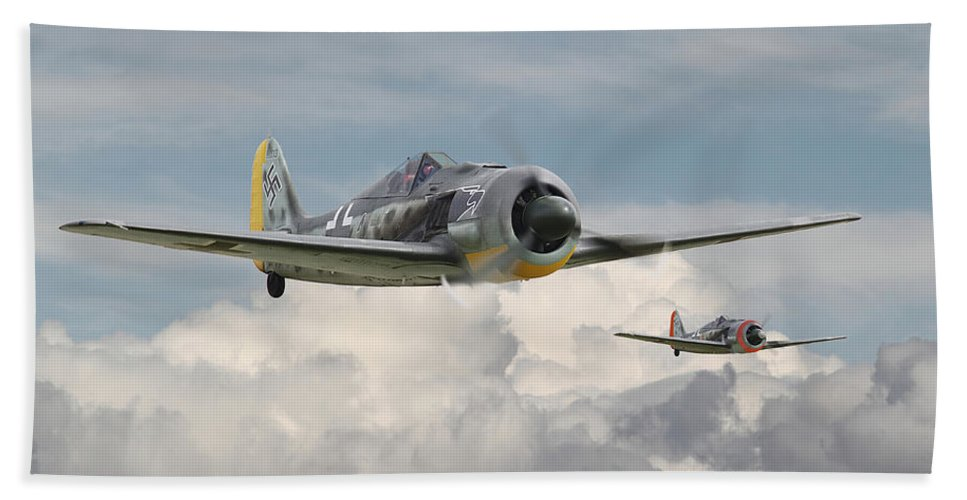 Aircraft Hand Towel featuring the photograph Fw 190 - Butcher Bird by Pat Speirs