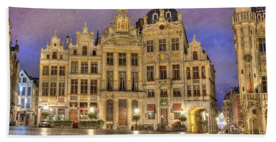 Architecture Bath Sheet featuring the photograph Gabled Buildings In Grand Place by Juli Scalzi