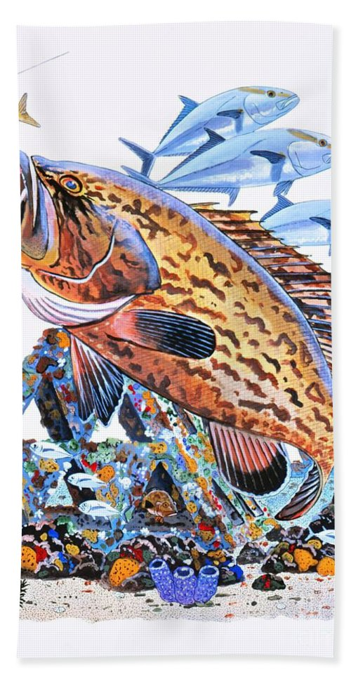 Gag Grouper Bath Sheet featuring the painting Gag Grouper by Carey Chen