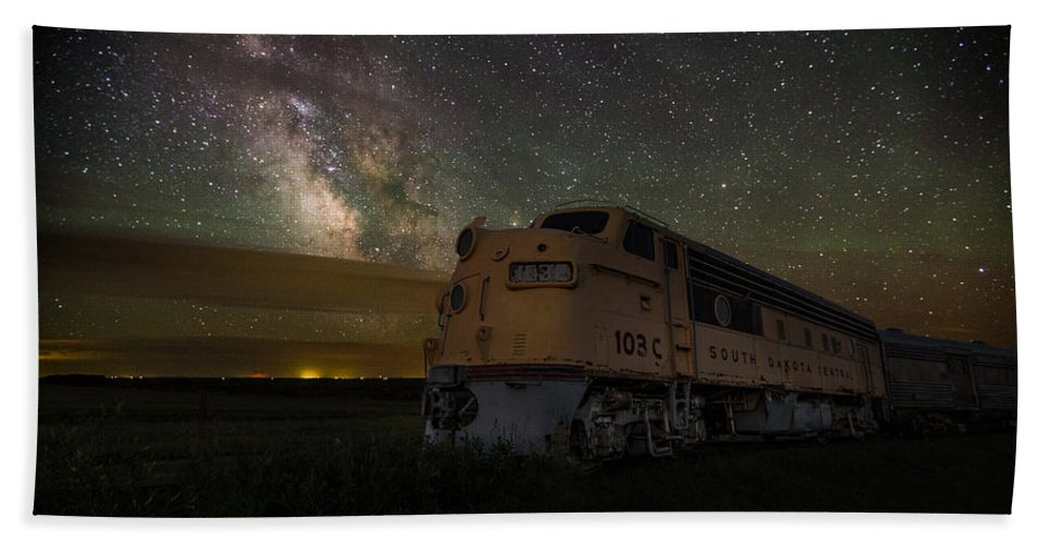#central Bath Sheet featuring the photograph Galactic Express by Aaron J Groen