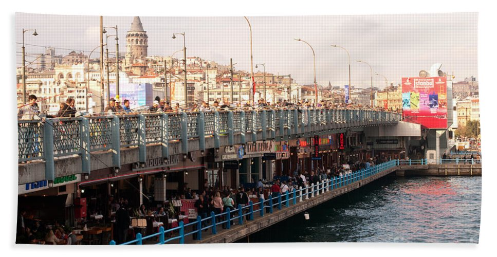 Istanbul Hand Towel featuring the photograph Galata Skyline And Bridge 02 by Rick Piper Photography