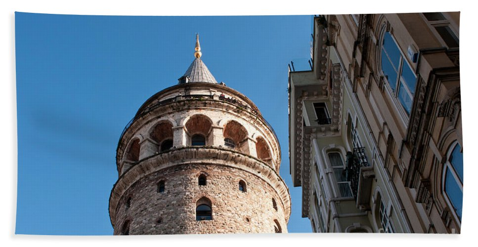 Istanbul Hand Towel featuring the photograph Galata Tower 03 by Rick Piper Photography