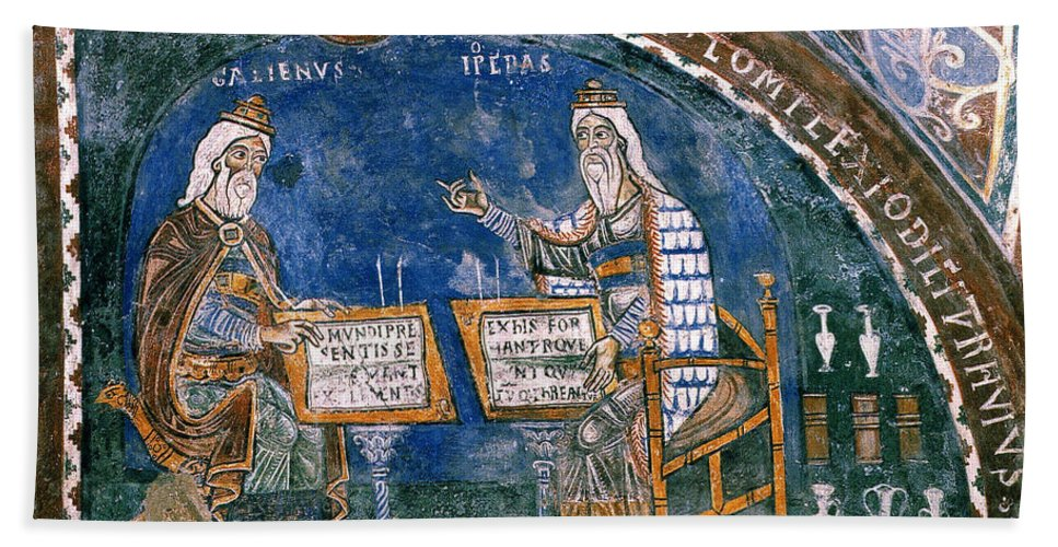 13th Century Bath Sheet featuring the photograph Galen And Hippocrates by Granger