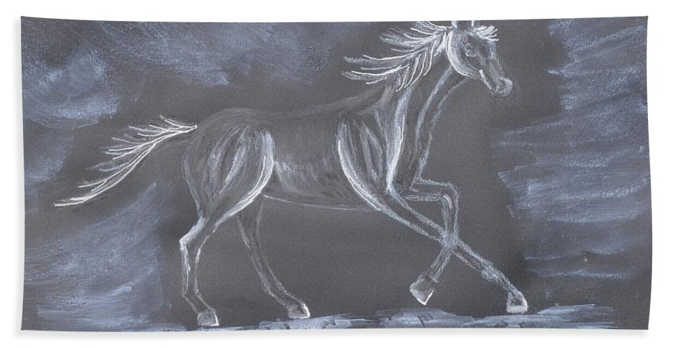 Galloping Horse Bath Sheet featuring the mixed media Galloping Horse by Sally Rice
