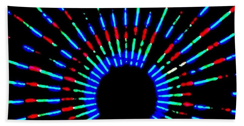 Gama Ray Bath Sheet featuring the photograph Gama Ray Light Burst Abstract by Eric Schiabor