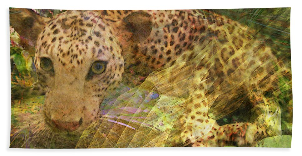 Leopard Bath Sheet featuring the digital art Game Spotting - Square Version by John Beck