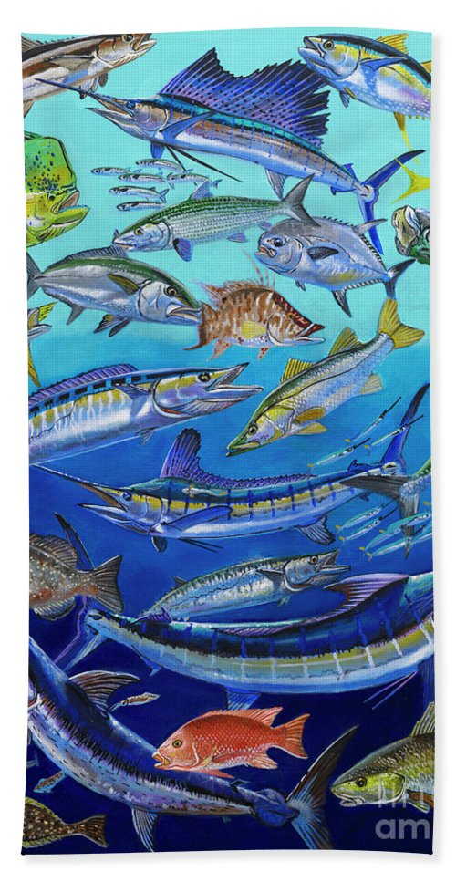 Gamefish Bath Sheet featuring the painting Gamefish Collage In0031 by Carey Chen
