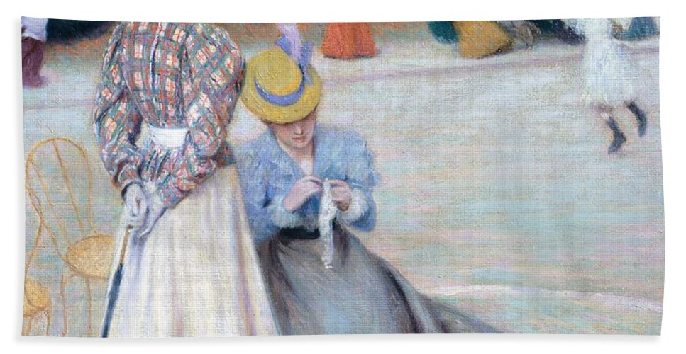 Painting; 19th Century Painting; Europe; Italy; Zandomeneghi Federico; Clothing; Female Figure; Centuries; 19th; Impressionism Bath Sheet featuring the painting Games At Park by Federico Zandomeneghi