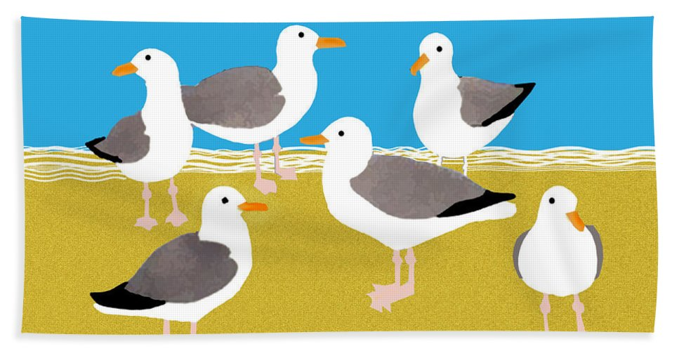 Bird Hand Towel featuring the painting Gang Of Gulls On The Beach by Elaine Plesser