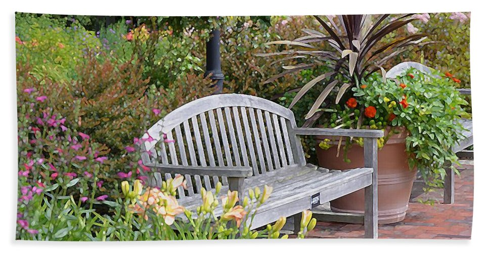 Bench And Containers Bath Sheet featuring the painting Garden Benches 3 by Jeelan Clark
