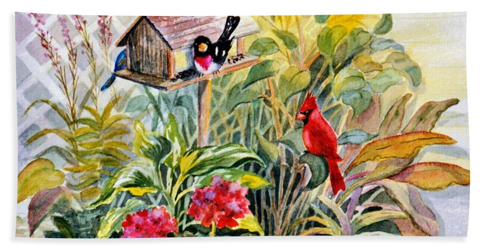 Birds Hand Towel featuring the painting Garden Birds by Marilyn Smith