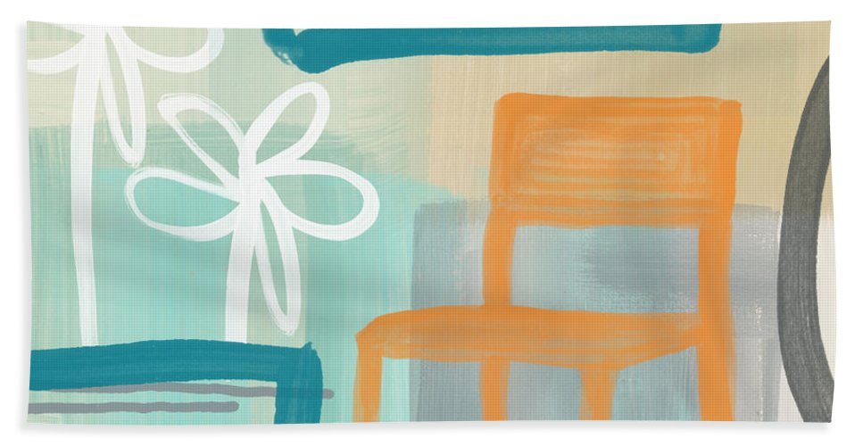 Abstract Hand Towel featuring the painting Garden Chair by Linda Woods