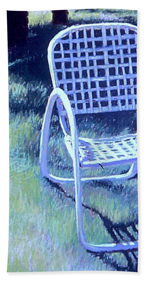 Pastel Bath Towel featuring the painting Garden Chair by Mary McInnis