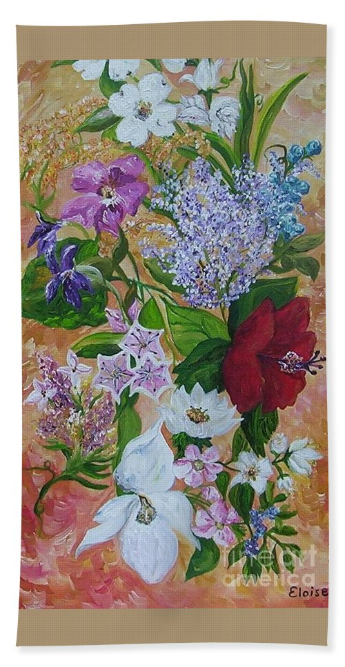 Flowers Hand Towel featuring the painting Garden Delight by Eloise Schneider Mote