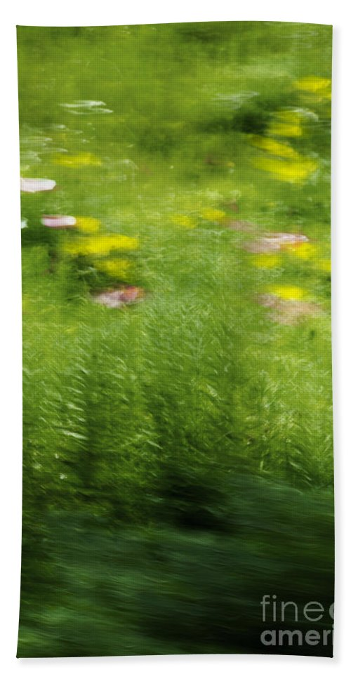 Abstract; Blur; Blurry; Blurred; Garden; Green; Yellow; Pink; Flowers; Grasses; Nature; Lovely; Beautiful; Summer; Serene; Rural; Flower Garden; Floral; Botanic Hand Towel featuring the photograph Garden Impressions by Margie Hurwich