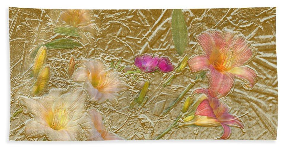 Garden Bath Towel featuring the mixed media Garden in gold leaf by Steve Karol
