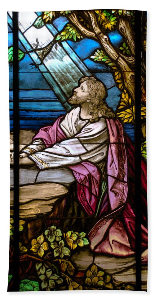 Stained Glass Window Hand Towel featuring the photograph Garden Of Gethsemane by Larry Ward
