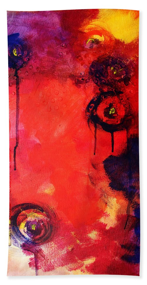 Abstract Hand Towel featuring the painting Garden of Good and Evil by Nancy Merkle