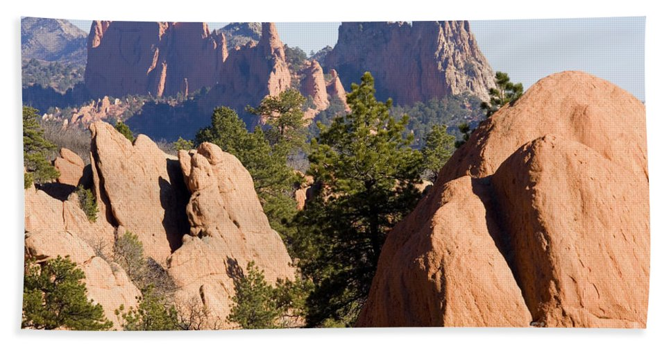 Bluffs Hand Towel featuring the photograph Garden Of The Gods And Red Rocks Open Space by Steve Krull
