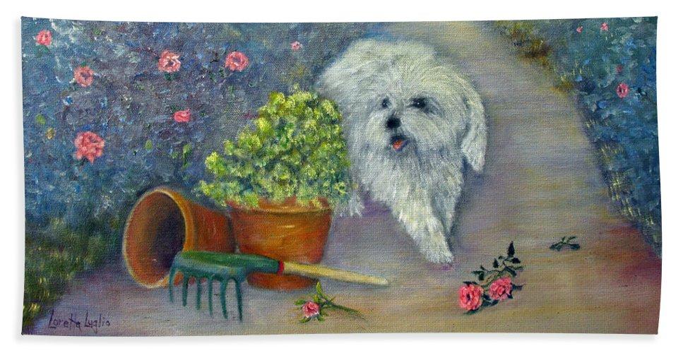 Loretta Luglio Hand Towel featuring the painting Garden Path by Loretta Luglio