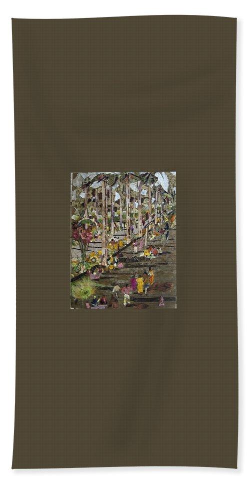 Garden Morning View Bath Sheet featuring the mixed media Garden Picnic by Basant Soni